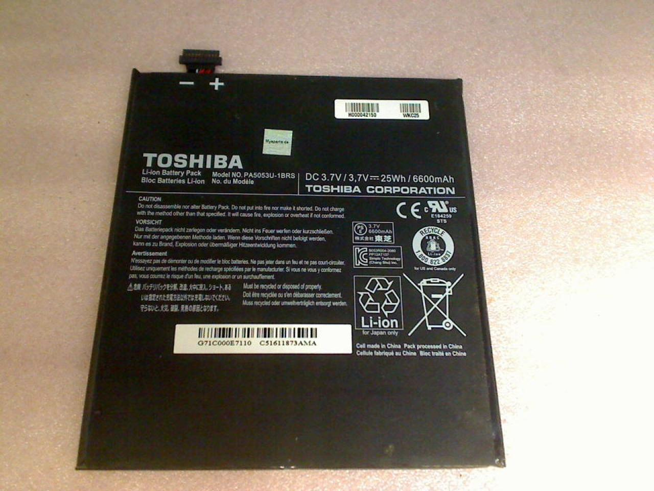 Akku Battery 3.7V 25Wh/6600mAh Toshiba AT300