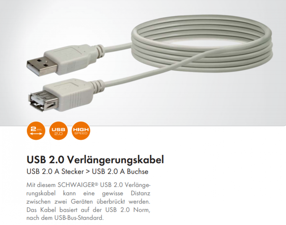 USB extension cable 2m A/A CK1502 031 Schwaiger New OVP