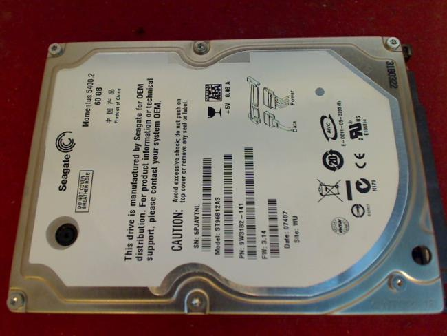 "60GB HDD Festplatte Seagate ST96812AS 2.5"" SATA PlayStation 3 PS3 CECHC04"