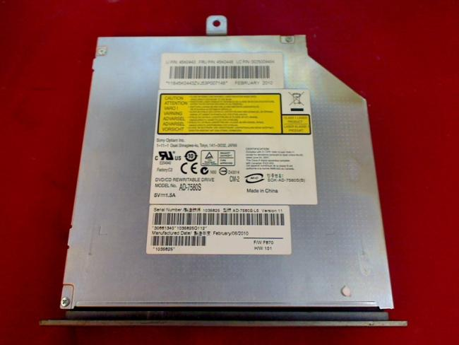 DVD Burner Drive AD-7580S with Bezel & Fixing Lenovo IdeaCentre B500